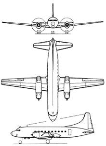 Plan 3 vues du Convair C-131 Samaritan
