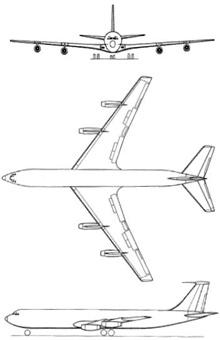 Plan 3 vues du Boeing C-135 Stratolifter