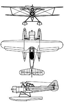 Plan 3 vues du Fokker C XIV-W