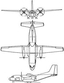 Plan 3 vues du Aérospatiale-MBB C-160 Transall