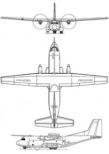 Plan 3 vues du Transall C.160G Gabriel