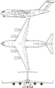 Plan 3 vues du McDonnell-Douglas C-17 Globemaster III