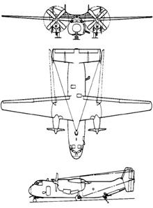 Plan 3 vues du Grumman C-2 Greyhound
