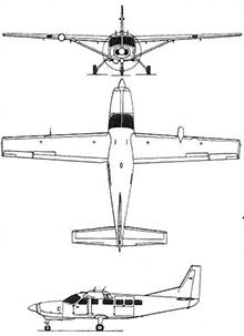Plan 3 vues du Cessna C-208 / AC-208 Caravan