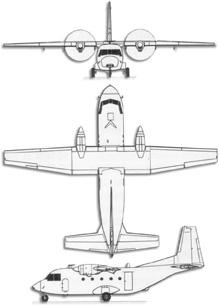 Plan 3 vues du CASA C-212 Aviocar