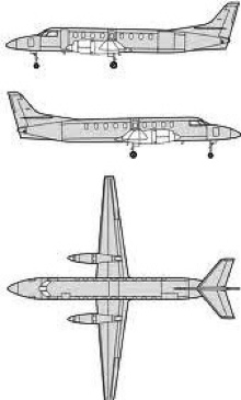Plan 3 vues du Fairchild C-26 Metroliner