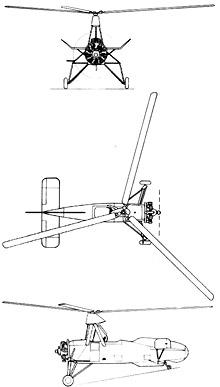 Plan 3 vues du Cierva C.30