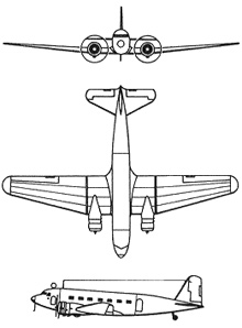 Plan 3 vues du Douglas C-32/33/39