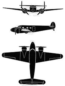 Plan 3 vues du Lockheed C-36/UC-40 Electra