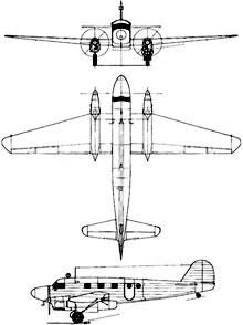 Plan 3 vues du Caudron C.440 Goéland