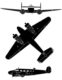 Plan 3 vues du Beechcraft C-45 Expeditor