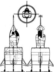 Plan 3 vues du SNECMA C.450 Coléoptère