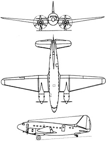 Plan 3 vues du Curtiss C-46 Commando