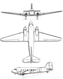 Plan 3 vues du Douglas C-47 Skytrain