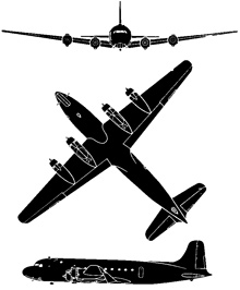 Plan 3 vues du Douglas C-54 Skymaster