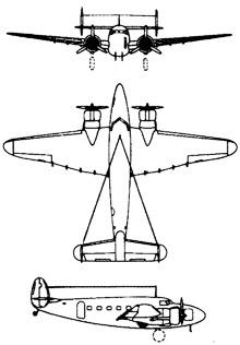 Plan 3 vues du Lockheed C-60 Lodestar