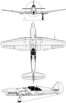 Plan 3 vues du Caudron C.714 Cyclone