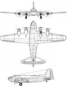 Plan 3 vues du Boeing C-75 Stratoliner