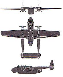 Plan 3 vues du Fairchild C-82 Packet