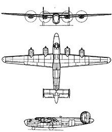 Plan 3 vues du Consolidated C-87/C-109 Liberator Express