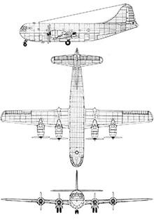 Plan 3 vues du Boeing C-97 / KC-97 Stratofreighter