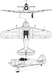 Plan 3 vues du Commonwealth CA-13 Boomerang