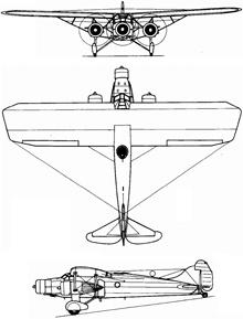 Plan 3 vues du Caproni Ca.133
