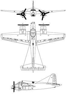 Plan 3 vues du FMA I.Ae. 24 Calquin