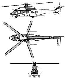 Plan 3 vues du Eurocopter EC 725 RESCO Caracal