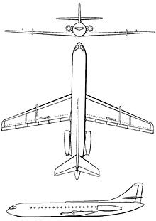 Plan 3 vues du Sud-Est SE.210 Caravelle