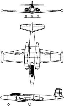Plan 3 vues du Avro Canada CF-100 Canuck
