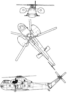 Plan 3 vues du Sikorsky CH-37 Mojave