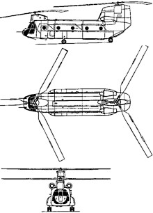 Plan 3 vues du Boeing Vertol CH-47 Chinook