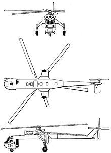 Plan 3 vues du Sikorsky CH-54 Tarhe