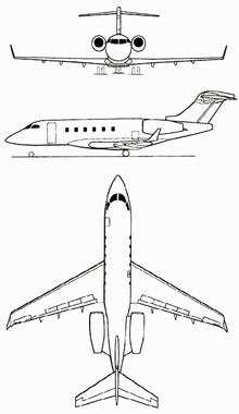 Plan 3 vues du Canadair / Bombardier Challenger