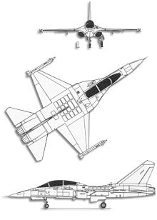 Plan 3 vues du AIDC F-CK-1 Ching-Kuo