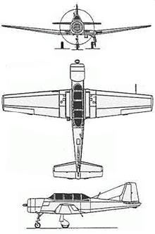 Plan 3 vues du Nanchang CJ-6