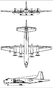 Plan 3 vues du Canadair CL-28 Argus