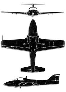 Plan 3 vues du Canadair CL-41/CT-114 Tutor