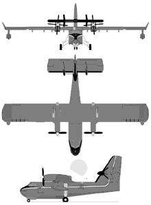 Plan 3 vues du Bombardier CL-415 Super Scooper