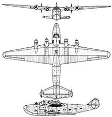 Plan 3 vues du Boeing 314 Clipper