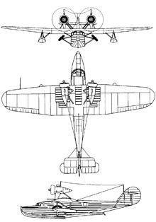Plan 3 vues du Saunders-Roe A.29 Cloud