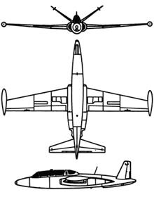Plan 3 vues du Fouga CM.170 Magister