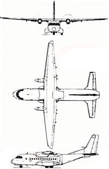 Plan 3 vues du CASA CN-235