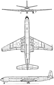 Plan 3 vues du De Havilland DH.106 Comet