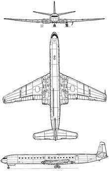 Plan 3 vues du De Havilland DH.106 Comet