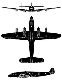 Plan 3 vues du Lockheed C-69/C-121 Constellation