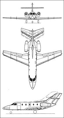 Plan 3 vues du Aérospatiale SN-601 Corvette