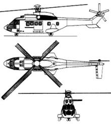 Plan 3 vues du Eurocopter AS.532 (EC 725) Cougar