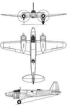 Plan 3 vues du Fiat CR.25